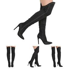 NEW WOMENS OVER THE KNEE STILETTO HIGH HEELS STUDDED LADIES BOOTS SHOES SIZE 3-8