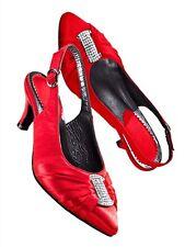 Scarpe scarpe da donna in pelle Sling Rosso ONU due divi tg. 39 (5,5) W G
