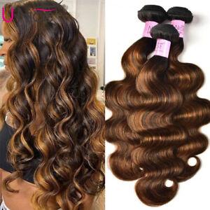 Brazilian Brown Balayage Highlight Human Hair Weaves FB30 Body Wave Hair Bundles