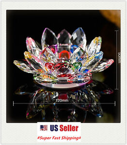 Crystal Lotus Flower Candle Stand Holder Tea Light Deco Gift
