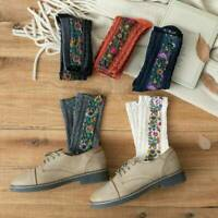 Womens Warm Floral Mid Stockings Retro Cotton Embroidered Socks Autumn&Winter--
