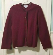 New listing Vintage Womens Tally Ho 100% Wool Cardigan Sweater M Medium Maroon Red Button