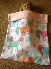 "18"" American Girl/15"" Bitty Baby Doll blue pink unicorn fleece blanket Fit"