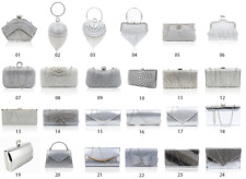 New Women Silver Crytal Clutch Bag / Ladies Evening Party Bridal Prom Handbag