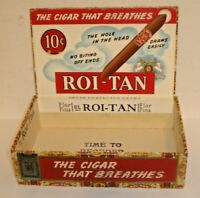 Vintage Roi-Tan 10 Cent Fresh Perfectos Extra Cigar Box w/ Tax Stamp  (D)