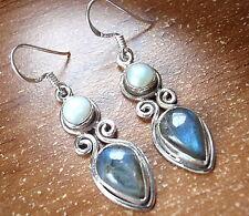 Pearl Labradorite Earrings 925 Sterling Silver Dangle Corona Sun Jewerlry u416p