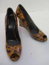 GUCCI  caramel/ brown patent leather tortoise peep toe wedge pumps sz 7B
