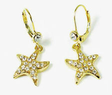 Diamante star fish earrings gold tone sparkly party prom drop rhinestone 020