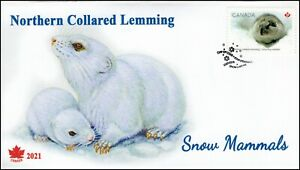 CA21-022, 2021, Snow Mammals, First Day of Issue, Pictorial Postmark,  Northern