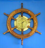 "Nicely kept Vintage Ship's Wheel Clock, Wood and Brass, 24"" diameter Wheel"