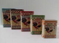 5 Natives Bistrot Le Coq en Pates, Farine, Sucre, Riz Epices empty Storage Tins