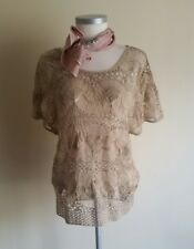 NEW Monsoon Crochet Lace Macrame Top Nude Stone Brown Ladies Size Small 8 10 12