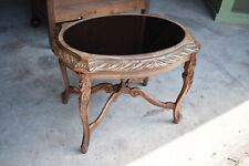 Small Vintage Heavily Carved Black Glass Coffee Accent Table