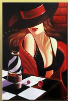 ZWPT06 100% hand-painted modern fashion girl with hat OIL PAINTING art on Canvas