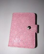 WOMEN'S PINK GLOSSY FAUX CROC LEATHERETTE CREDIT CARD WALLET