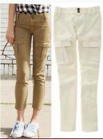 Madewell caset crop skinny Jean's cargo pants size 24 color cream Approx measu