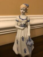 Lady With Bouquet Of Flowers And Umbrella Blue White Porcelain Figure Figurine