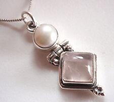 Cultured Pearl and Rose Quartz 925 Sterling Silver Pendant Corona Sun Jewelry