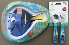 Zak! 3 Pc. Set Children's FINDING DORY/NEMO Shaped Melamine Plate, Spoon & Fork