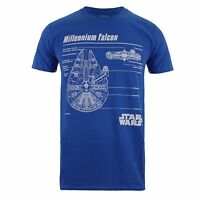 Star Wars Millennium Falcon Schematics - Mens T-Shirt - Blue - Sizes S-XXL