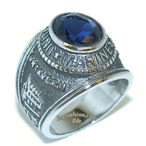 Mens TK316 Stainless Steel Wide Band Blue Sapphire CZ Military Marine Troop Ring