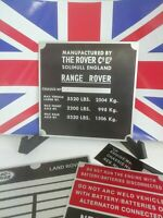 Land Rover Range Rover Classic 2 Door Chassis Plate  Engine Bay.
