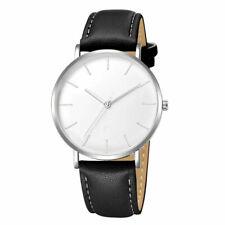 Design Armbanduhr mit Lederarmband schwarz/weiß Damen Herren Uhr klassisch