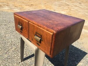 Solid Tiger Oak 2 Drawer File Cabinet Made By Yawman & Erbe Mfg Co. New York
