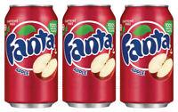 3 x FANTA APPLE Flavor Soft Drink Full Unopened Soda Cans 355ml 12 fl oz