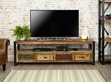Agra Reclaimed Wood Furniture Large Widescreen Television Cabinet Stand Unit