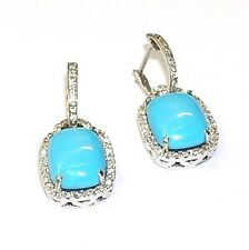 14 KT TURQUOISE DANGLING EARRINGS WITH .90 CT DIAMONDS WHITE GOLD