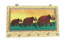 Indian Wooden 6 Hook Key Holder Wall Hanging Gemstone Craft Painting 8 x 5 inch