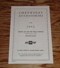 1952 Chevrolet Accessories Price List Brochure 52 Chevy