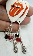 Rolling Stones Guitar Pick Earrings with Charm and Swarovski Crystal Dangles