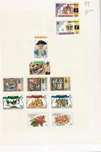 DOMINICA PRE 1980's ALBUM PAGE OF 12 STAMPS