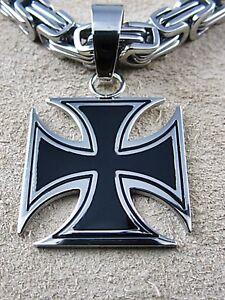 Edelstahl Kreuz Anhänger Eisernes Kreuz 5,3 cm x 3 cm BIKER  große Öse