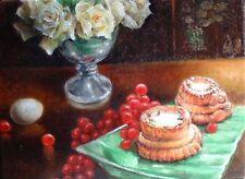 Original Still Life Oil Painting Classic White Rose Cake Flower ARTIST SIGNED