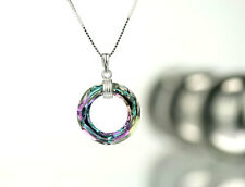 Kette 925 Silber mit 20mm Swarovski Cosmic Ring Farbe Crystal Vitrail Light