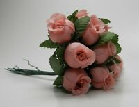 12 Miniature Silk Rose Buds with Wires -Wedding Floral/Dolls & Bear Making-Pink