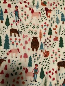 Pillowfort Queen Flannel Sheet Set Wild Woods Multicolor forest unicorn mushroom