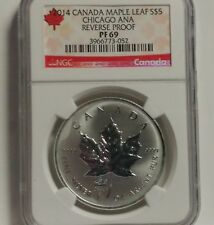 2014 CANADA SILVER MAPLE LEAF CHICAGO ANA PRIVY NGC PR 69 S$5 1 OZ SILVER COIN