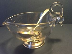 Vintage Frank M Whiting Glass and Sterling Gravy Boat and Sterling Silver Spoon