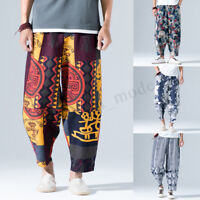 INCERUN Mens Womens Japanese Floral Samurai Boho Harem Hakama Pants Trousers UK