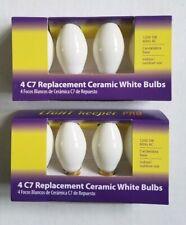 Replacement Ceramic 8 White Bulbs C7 120V Candelabra Christmas Lot 2 packs