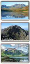 3x FRIDGE MAGNETS - THREE PEAKS CHALLENGE - Snowdon, Scafell Pike, Ben Nevis