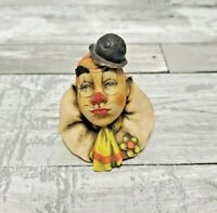 Clown Bust Figurine - Hand Painted In Italy By D. Esposito - Vintage 1982