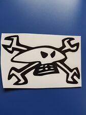 Guy Martin skull and cross spanners vinyl sticker. Black or white