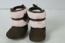 Stepping Stones Infant Girl Boots Brown Suede Pink Faux Fur Infant Size 3-6 Mont
