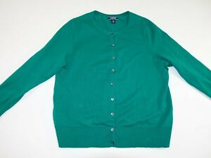 Lands' End Women's Cardigan Sweater Size 1X Green Long Sleeves Pullover 16W 18W