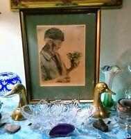 "1951 Paul Geissler ""The First Snowbells"" Self- Portrait/ Etching Print on Silk"